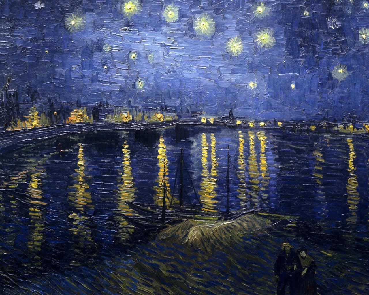 Винсент Ван Гог - Звездная ночь над Роной. Обои для ... Звездная Ночь над Роной Ван Гог
