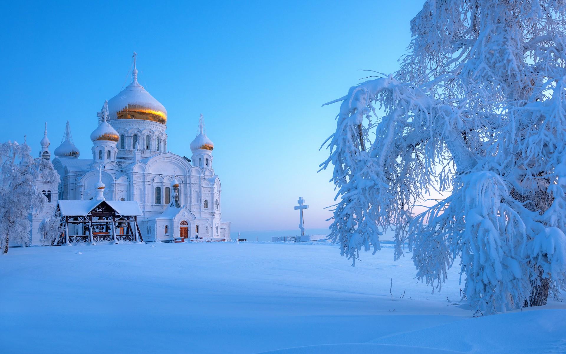 Зима обои на рабочий стол храмы